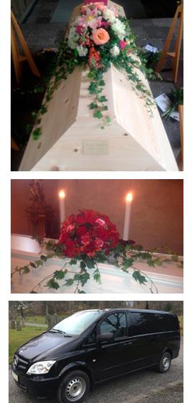Kista och begravningsbil