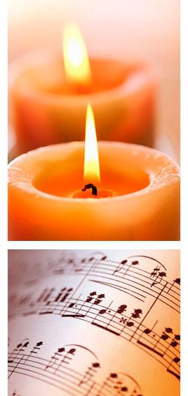 Brinnande ljus och noter